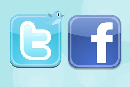 ايقونة الفيس بوك وتويتر متحركة فى الموقع
